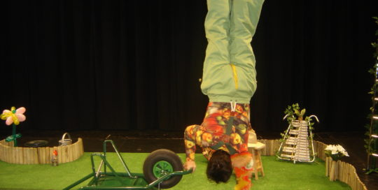 Un jardinier qui fait un équilibre sur une main avec sa brouette cirkonflex